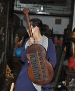 Old Dynasty Huanghuali Wood Carving Lute Shape Ancient Calculation Tool Abacus