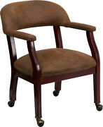 Flash Furniture Bomber Jacket Brown Luxurious Conference Chair With Casters New