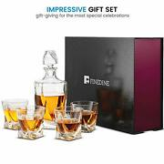 Crystal Whiskey Decanter Set - 5-piece Glasses 100 Lead Free Crystal Clear 25oz