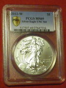 2012 W Silver American Eagle Uncirculated Unc Dollar Coin Set Ms69 Pcgs Secure