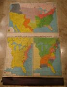 1940and039s Canvas School Pull Down Map-transportation River Canal Industrial-gf Cram