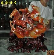 Chinese Feng Shui Natural Agate Onyx Carve Pentium Zodiac Animal 3 Horse Statue