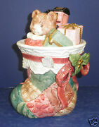 Fitz And Floyd Christmas Quilt Stocking Cookie Jar- New In Box- 19/865