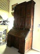 Tall 84 Grand Antique French Oak Renaissance Bookcase/cabinet Drop Leaf Table