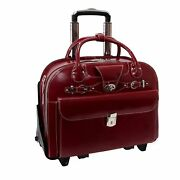 Mcklein Roseville Ladie's Leather Briefcase With Removable Wheel And Handle In Red