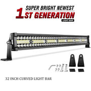 32inch Curved Led Light Bar 648w Tri Row Spot Flood Combo Offroad Truck Suv 30and039and039