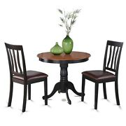 3 -piece Antique Round Kitchen 36 In. Table And 2 Chairs With Faux Leather Seat