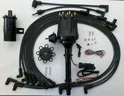 Chevy All Black Small Hei Distributor + Plug Wires Under The Exhaust + 45k Coil