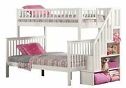 Woodland Staircase Bunk Bed White Twin Over Full