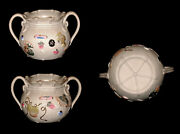 Banko Japanese Pottery Hand Made Hand Painted Cache Pot Vessel Candy Dish Sugar