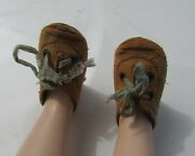 Antique Doll Clothes Shoes Leather Soft Lace Up French German Original Size 8