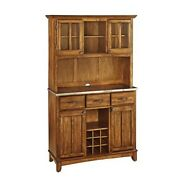 Buffet Of Buffet With Stainless Top And Hutch Cottage Oak New