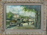 Charles Blondin 1913 - 1991 Seine River Paris With Canal Boat Painting