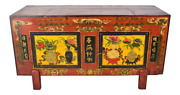 Antique Asian Hand Painted Storage Chest Trunk Great Tv Stand