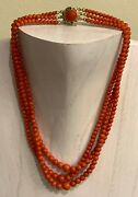 Fine Chinese Export 42 Grams Natural Coral Beads Necklace With Sterling Closure