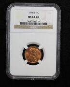 1946-s Shell Casing Lincoln Wheat Cent Ngc Ms 67 Red