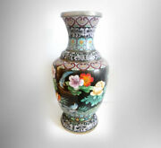 Vintage Large 26 Tall Oriental Brass Cloisonnandeacute Vase With Floral And Birds