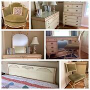 Beautiful French Country 8 Piece Bedroom Suite / Louis Bereger Chair Pickup Only