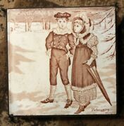 Antique Victorian Josiah Wedgwood And Sons Etruria-tile For Feb.trivet, Hot Pad