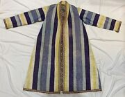 Antique Central Asia Adras Ikat Coat Russian Hand Rolled Cotton Lining