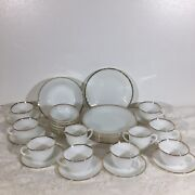 27 Pcs. Set Vintage White Milk Glass Fire King Oven Ware With Swirl And Gold Trim