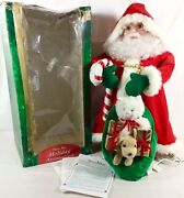 Santaand039s Best 30 Animated Motion Santa Claus W/ Bag Of Toys Dog Cat Xmas Vtg 96and039