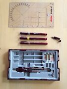 College Rotring Rapidograph 3 Pen Drawing Set, .30 .35 .50, Compass, Storage Box
