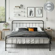Metal Bed Frame King Farmhouse Iron Vintage Rustic Black Modern Country Style Us