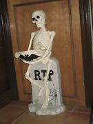 Vintage Prop Tombstonemade-thick Hard Resin Skeleton Rip 30 Tall Halloween