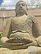 5ft Large Sculpted Lava Stone Buddha Japanese Garden Carved Bali Statue