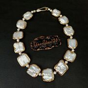 18.5 White Square Keshi Pearlgold Plated Necklace