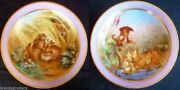 Antique Opaline Glass Bowls Pair Hand Painted W Animals Myth Fables 3666