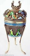 Vintage Chinese Silver Cloisonne Enamel Ting 3-legged Cup W Lid C1940s 4619