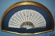 Vintage Framed Shadow Box Lace Hand Fan Abalone Sequins Gold Chain Fabric Lined