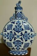 Antique Chinese Blue And White Moon Flask 13.5 Inch High Very Unique And Rare