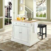 Crosley Oxford Butcher Block Top Kitchen Island With Square Stools In White