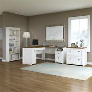 Fairview L Desk With File Cabinet And Bookcase In Antique White - Engineered Wood