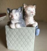 Lladro-nao Two Kittens In A Box Figurines 4 1/4