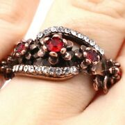 Vintage Antique Red Ruby Ring Women Wedding Birthday Flower Jewelry Size 6 7 8 9