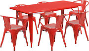 31.5'' X 63'' Rectangular Red Metal Indoor Table Set With 6 Arm Chairs New
