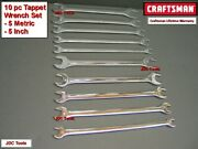 Craftsman Tools 10 Pc Sae Metric Mm Thin Head Tappet Open End Wrench Set