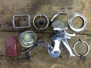 Lot Of Used Auto Parts Trim Emblems Chrome Lady Taillight Dome Light Blue Button