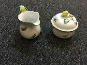Herend Rothschild Birds Cream Pitcher And Sugar Bowl With Flower Cover