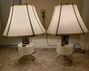 Vintage Pair Of Matching Electrified Victorian Oil Lamp Table Lamps With Shades
