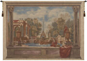 Italian Garden With Parrot Belgian Woven Chenille Tapestry Wall Hanging New