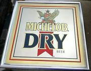 Michelob Dry Beer Sign Mirror Bar Sign Mirrors Anheuser Busch Brewery Man Cave