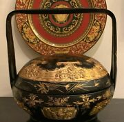 Large Antique Chinese Peranakan Straits Gilt Hand Painted Wedding Basket