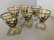 Set Of 6 Vintage Barware Handpainted Gold Leaf Cordial Glasses, Horse And Carriage