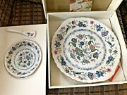 New Andrea By Sadek Chip And Dip 3-piece Set India Garden Pattern Plate Bowl Spoon