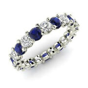 2.03 Ct Natural Diamond Blue Sapphire Eternity Band 14k White Gold Ring Size 7 6